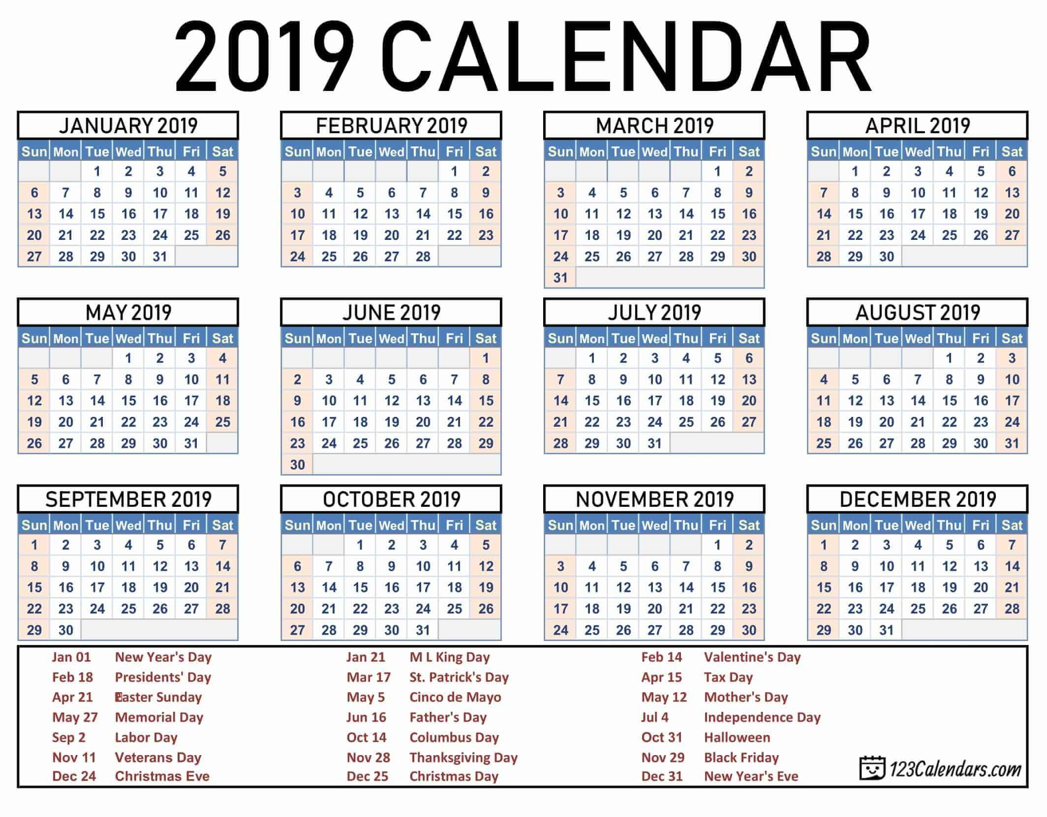 Lovely Printable Calendar For Year 2019 : Mini Calendar Template intended for Printable Calendars From 123Calendars