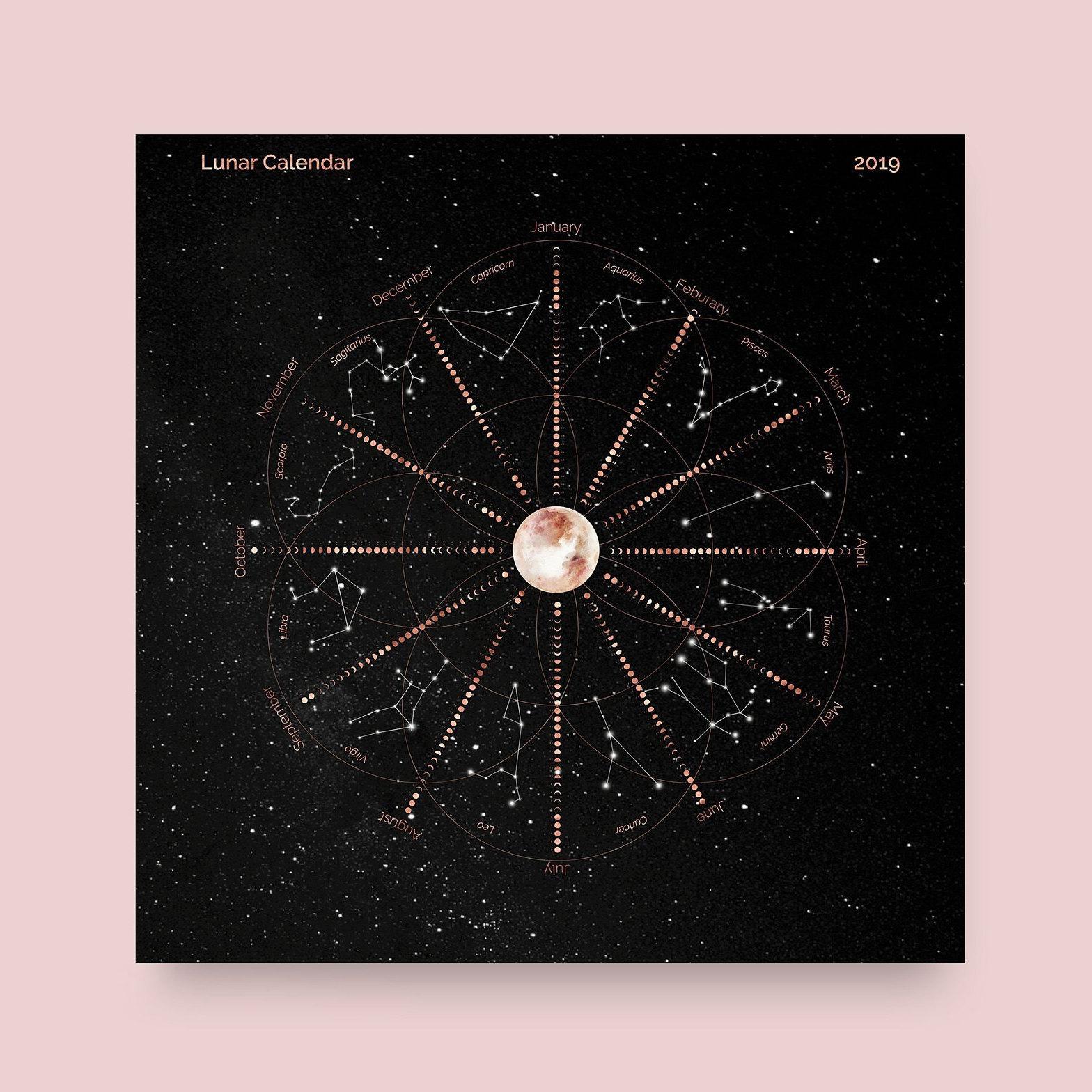 Lunar Calendar 2019 Printable, Printable Lunar Calendar, Zodiac  Constellations, Rose Gold On Black, Printable Calendar, Calendar Printable pertaining to Om Journal Lunar Calendar