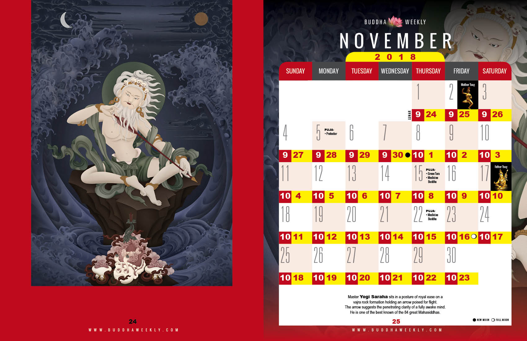 Lunarcalendar201812Buddha Weekly 11 November11  Buddha intended for Om Lunar Calendar