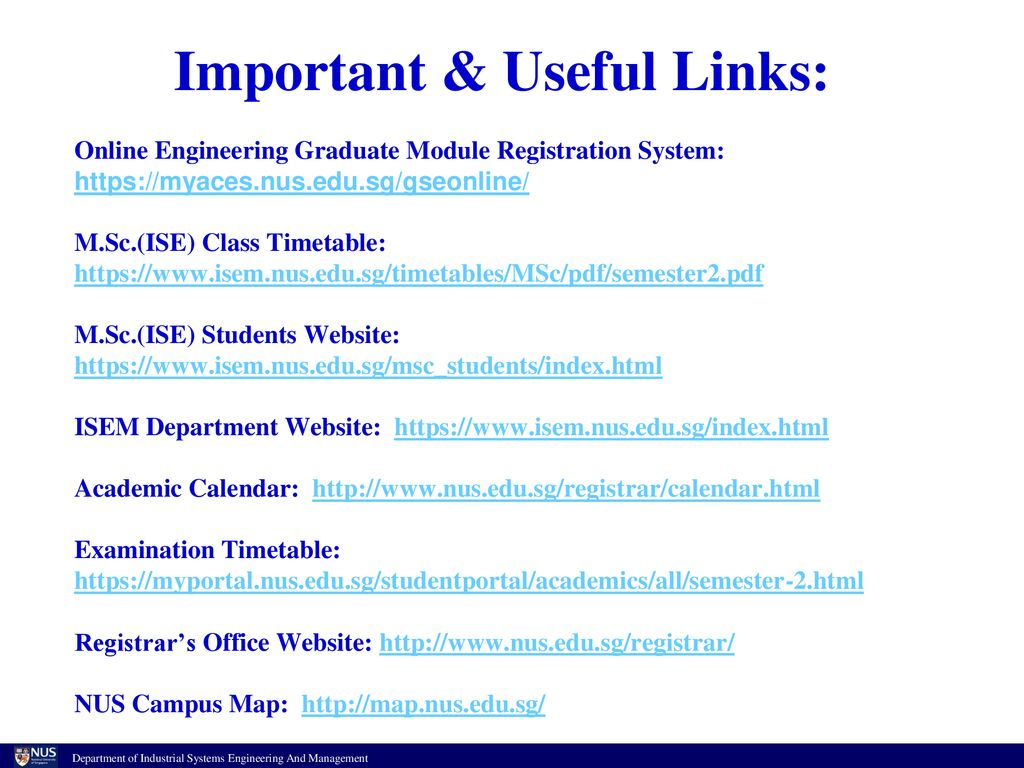 M.sc.(Ise) Program Briefing  Ppt Download with regard to Nus Academic Calendar
