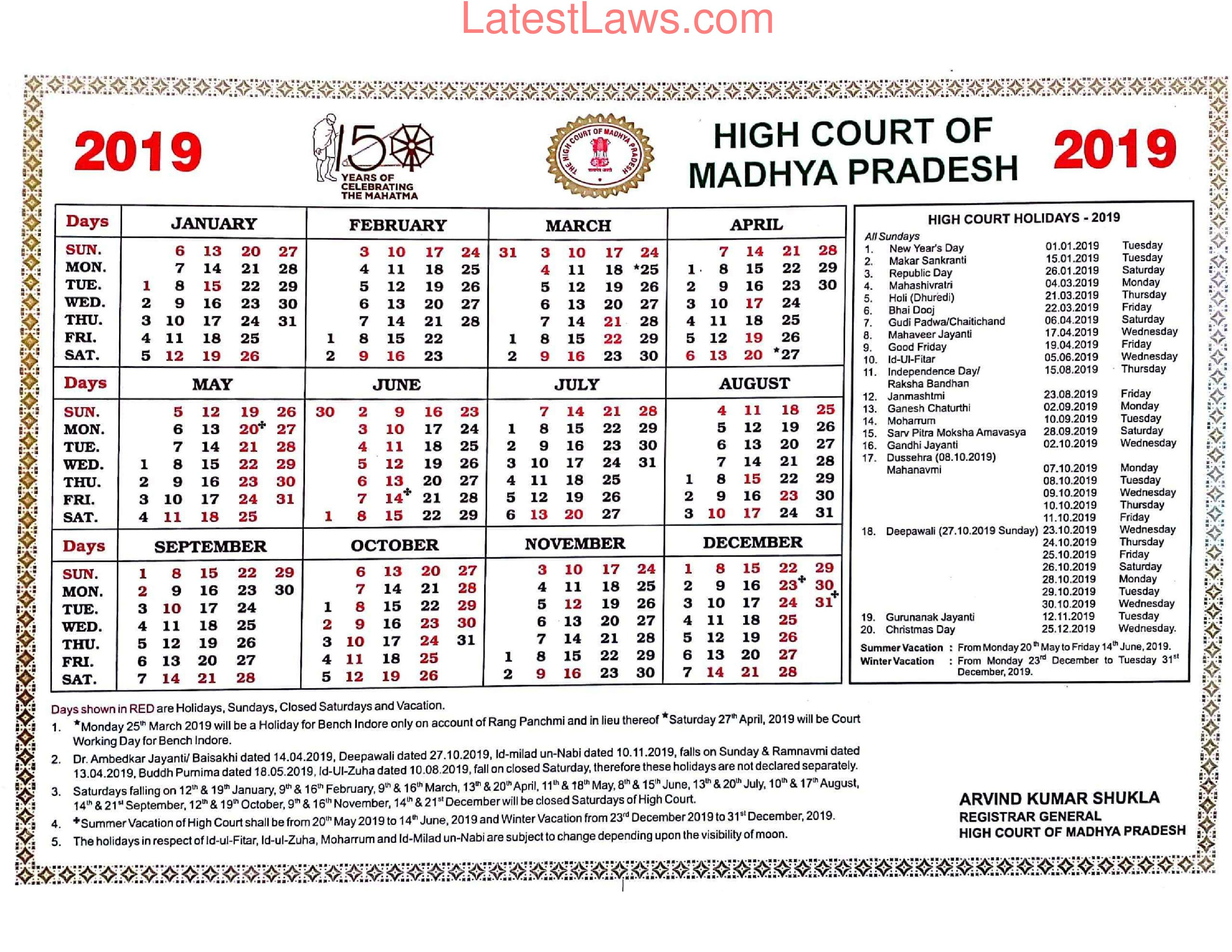 Madhya Pradesh High Court Calendar 2019 throughout Bihar Govt Calender