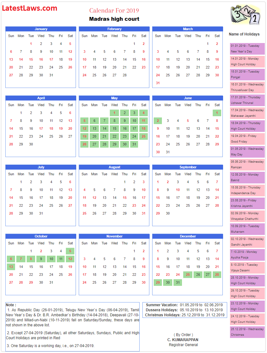 Madras High Court Calendar 2019 within Bihar Sarkar Ka Calendar 2020