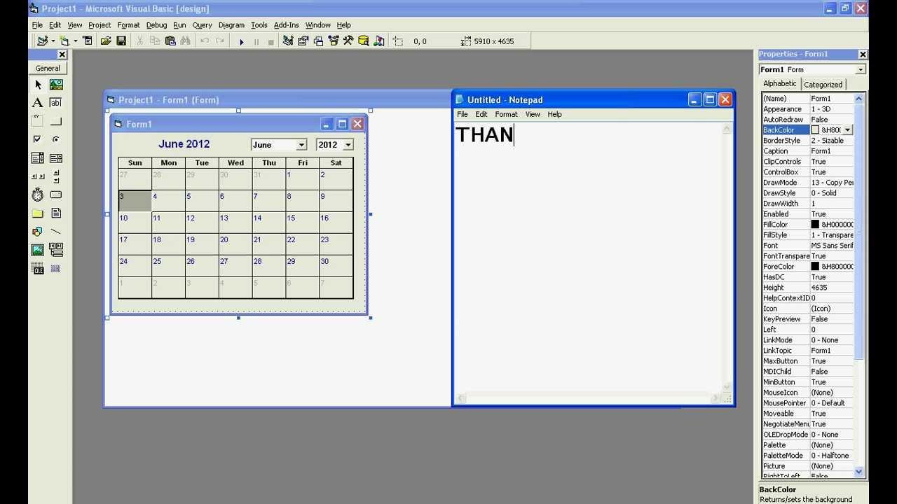 Making A Calender In Vb 6.0.avi inside Vb6 Calendar Control