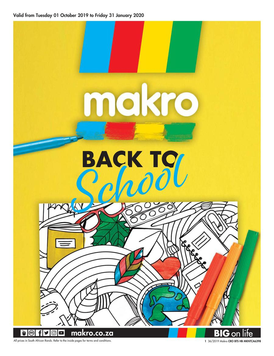 Makro : Back To School (01 Oct  31 Jan 2020) — Www.guzzle.co.za intended for School Terms 2020 South Africa