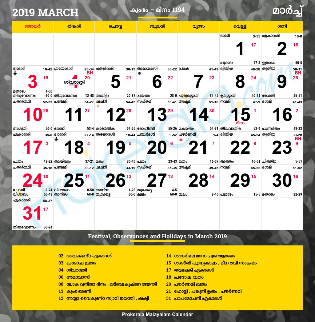 Malayalam Calendar 2019, March within Malayalam Calendar 2001