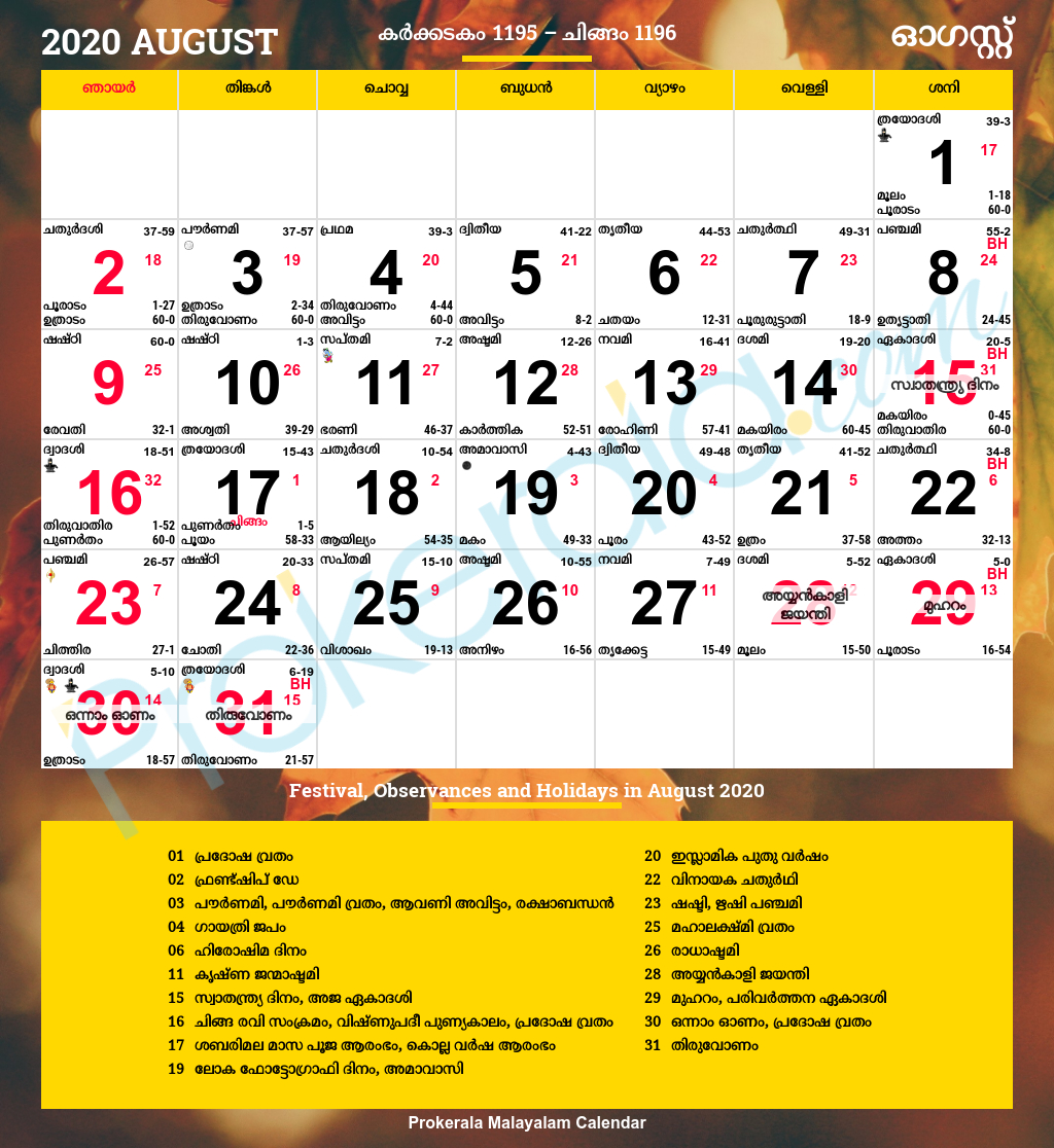 Malayalam Calendar 2020, August for Malayalam Calendar September 2020