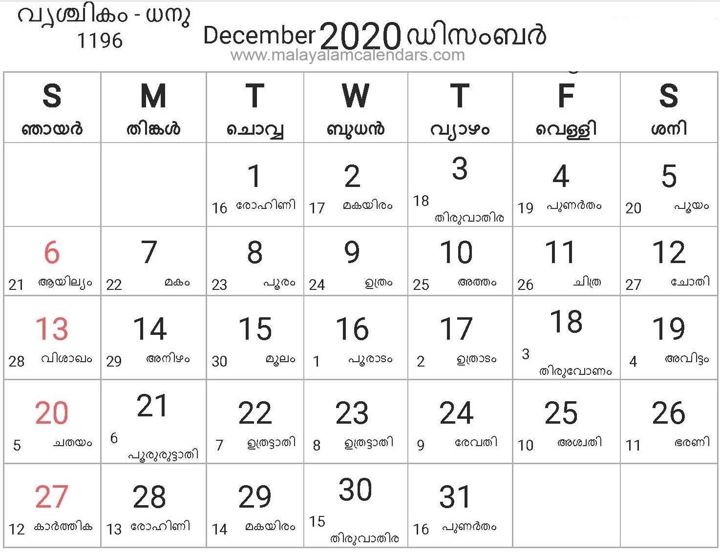 Malayalam Calendar December 2020 – Malayalamcalendars in Kerala Government Calendar 2020 September