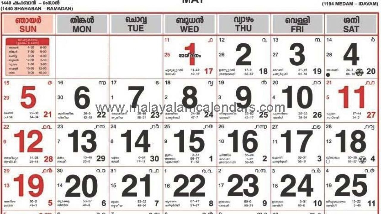 Malayalam Calendar May 2019 – Malayalamcalendars throughout Malayala Manorama Calendar 2020 December