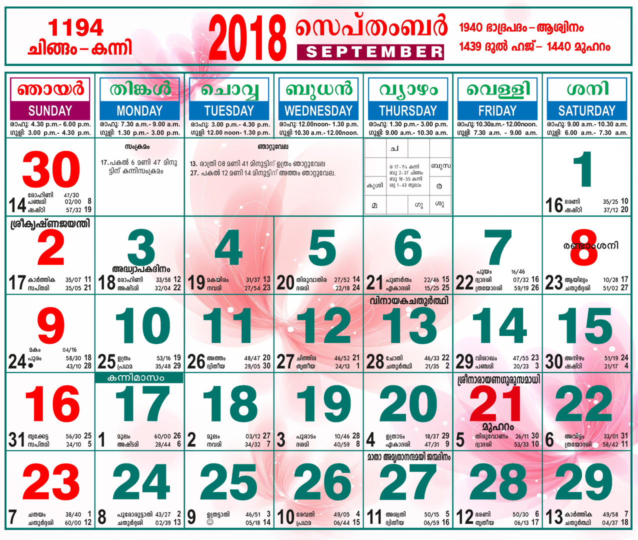 Malayalam Calendar September 2018 | | Calendarcraft intended for October 2018 Calendar Malayalam