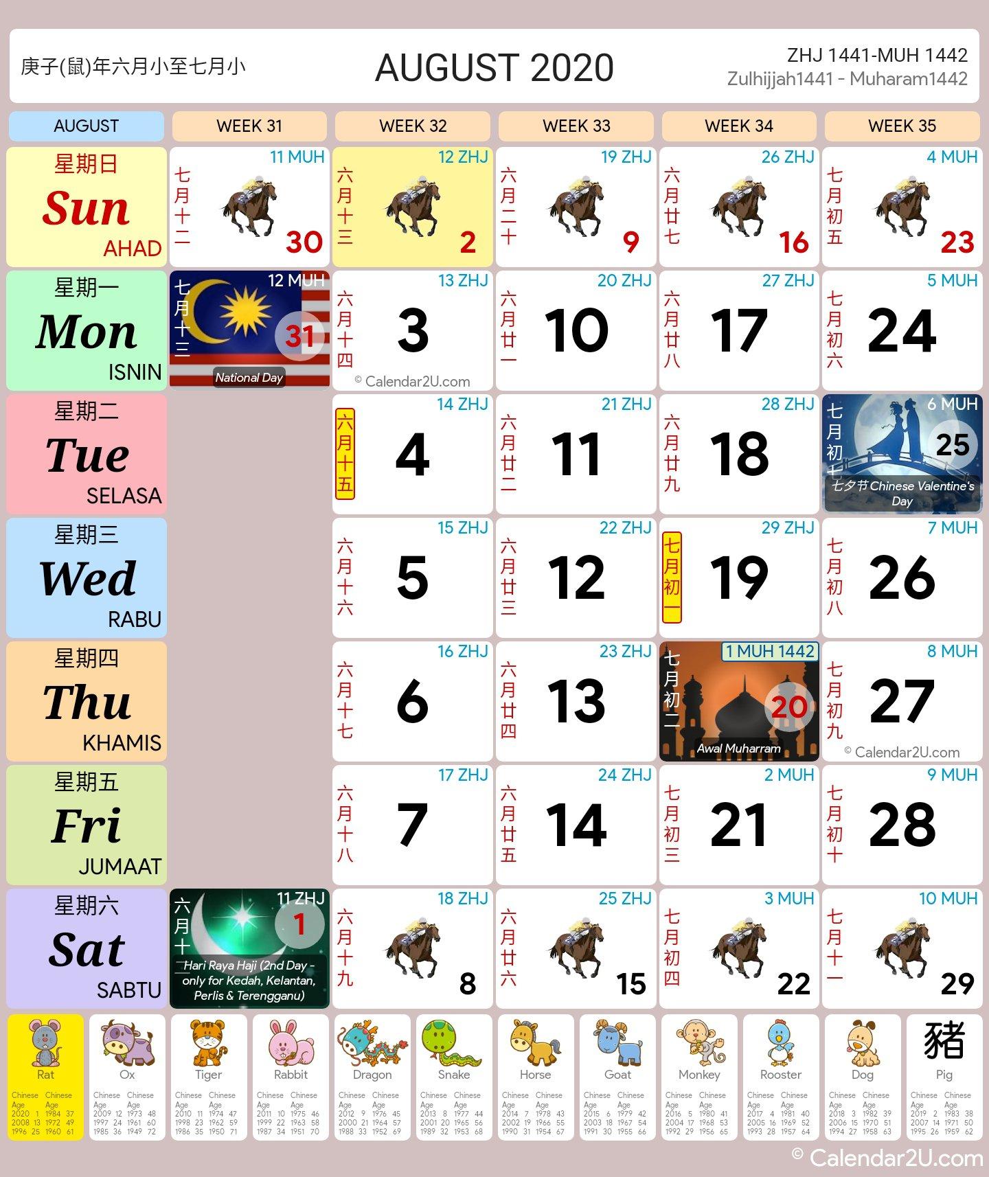 Malaysia Calendar Year 2020 (School Holiday)  Malaysia Calendar regarding Malaysia Kuda Calendar 2020