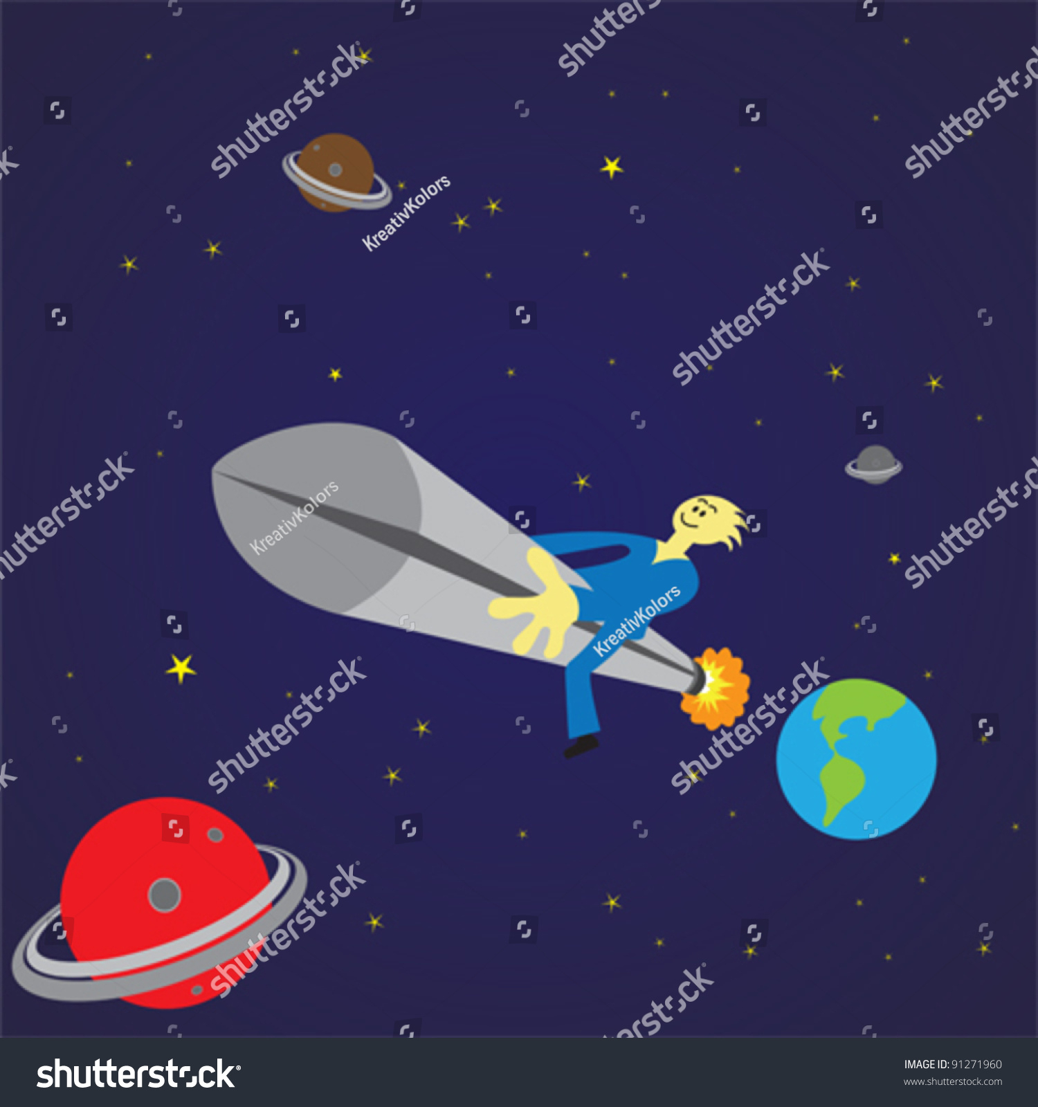 Man Traveling Outer Space Rocket Eps Stock Vector (Royalty throughout Space Related Pictures