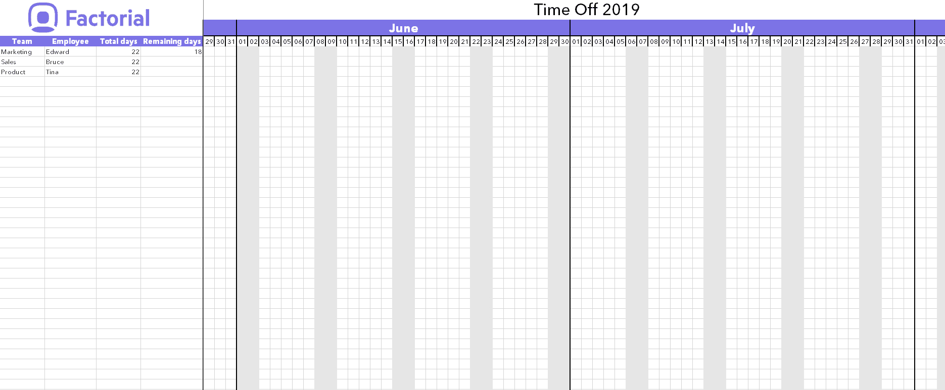 Manage Time Off Requests W Free Template | Factorial inside Employee Vacation Calendar Template