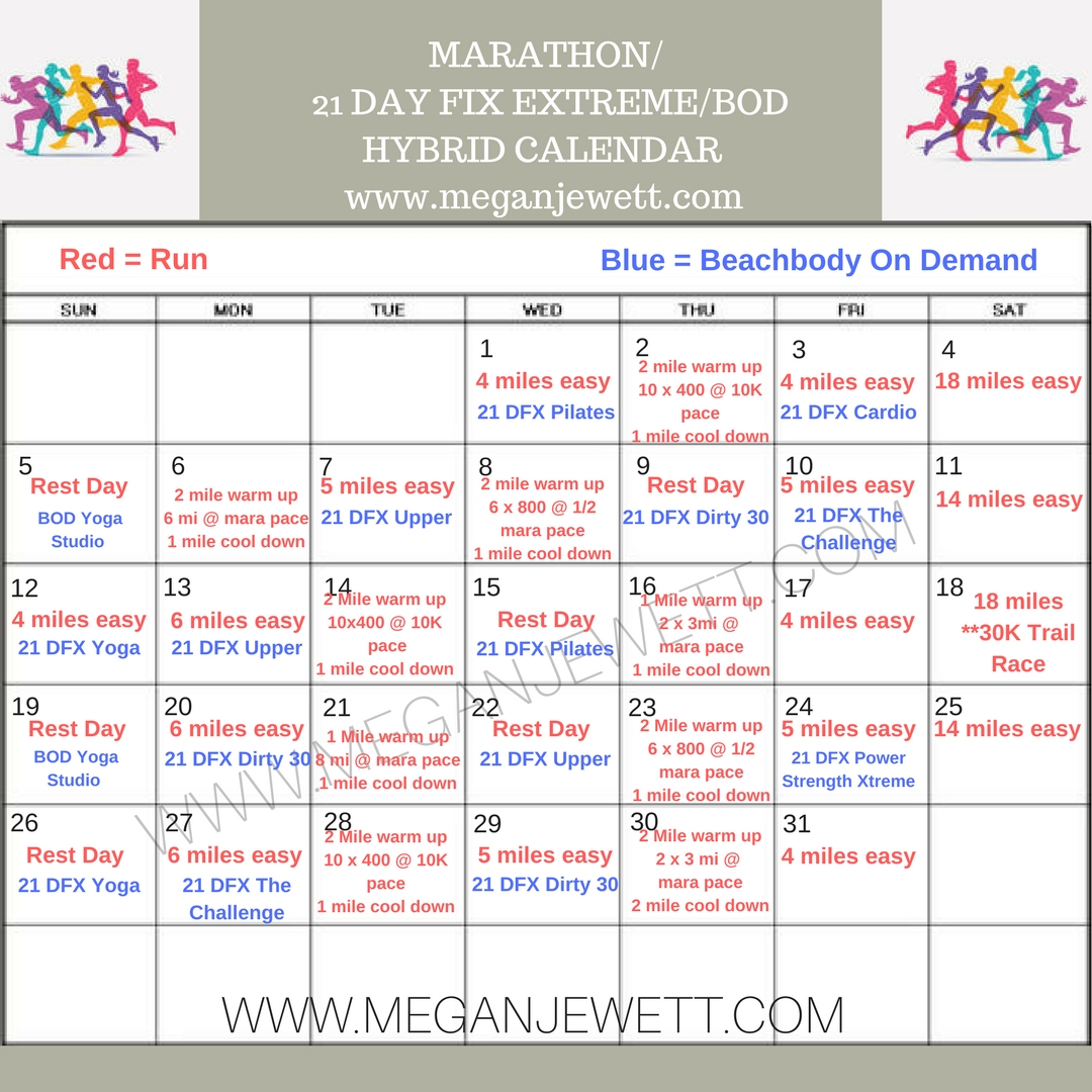 Marathon Training Month With Beachbody! inside 21 Day Fix Hybrid Calendar