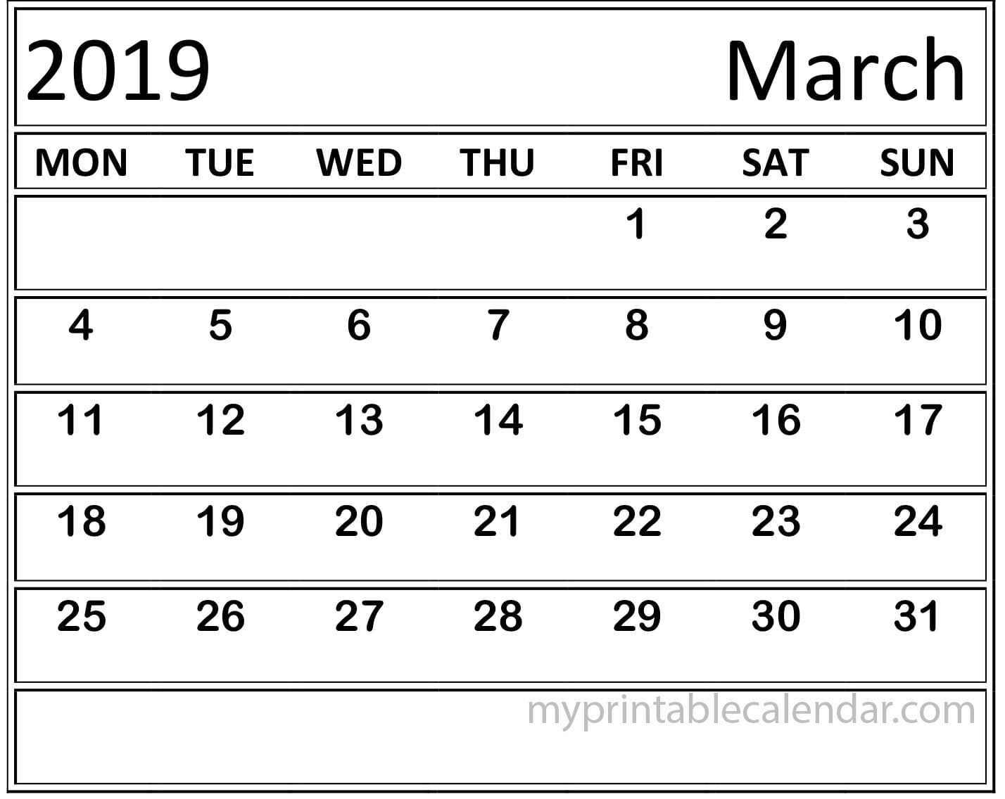 March 2019 Calendar Template With Lines | March 2019 for Calendar Template With Lines