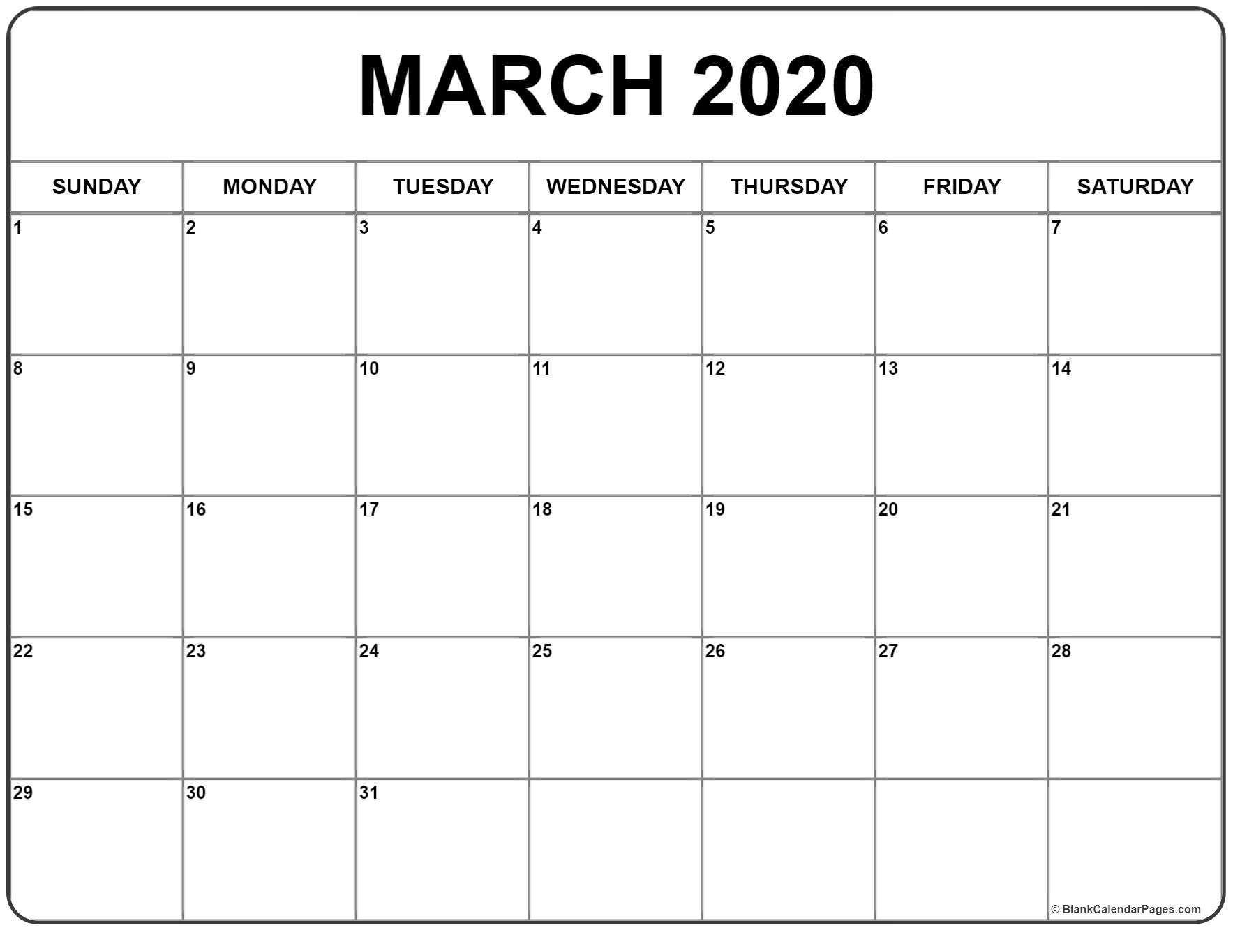 March 2020 Blank Printable Calendar  Yatay.horizonconsulting.co intended for 2020 Blank Calendar Pages
