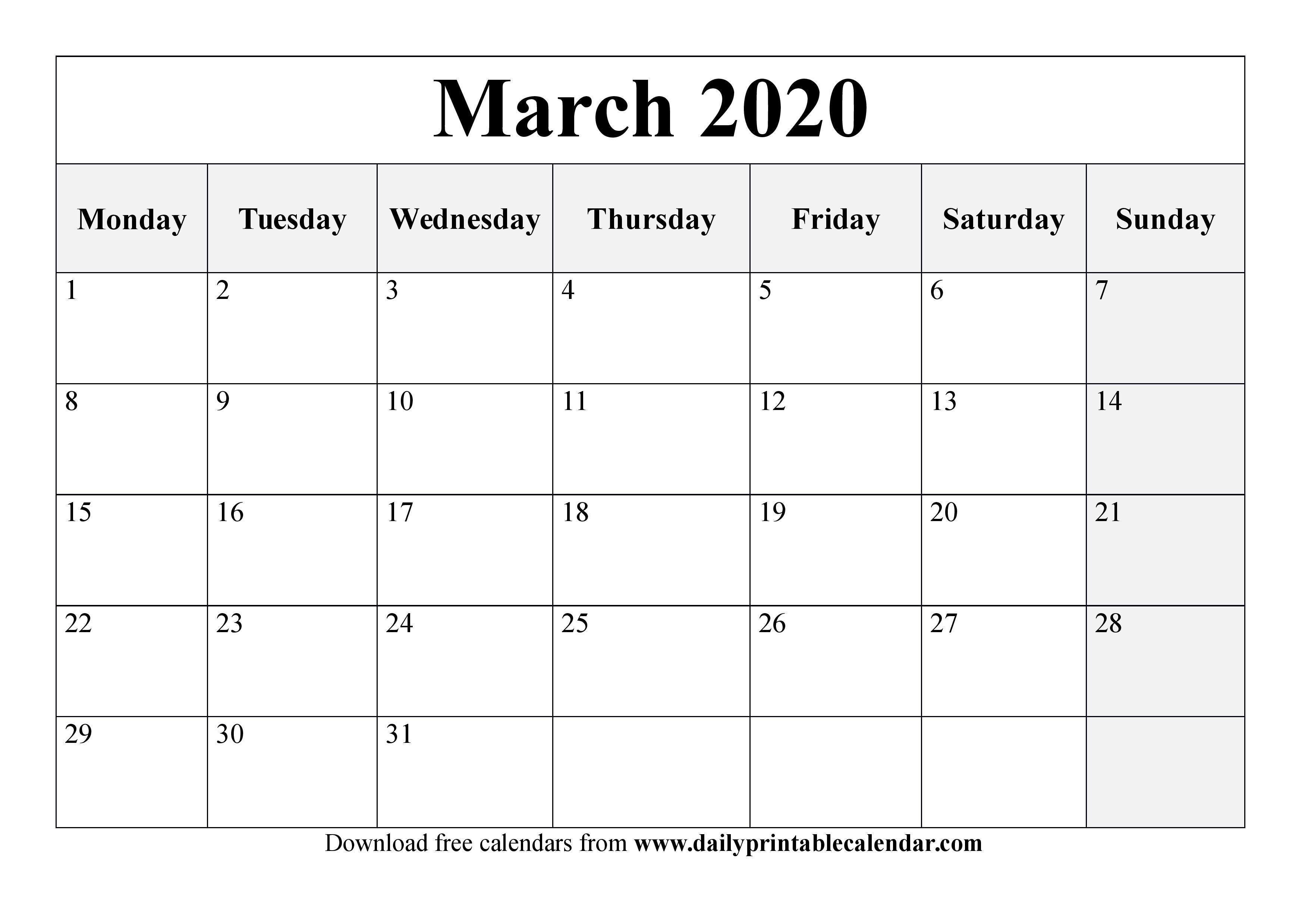 March 2020 Calendar Printable  Blank Templates  2020 Calendar regarding Printable 2020 Calendar Starting Monday