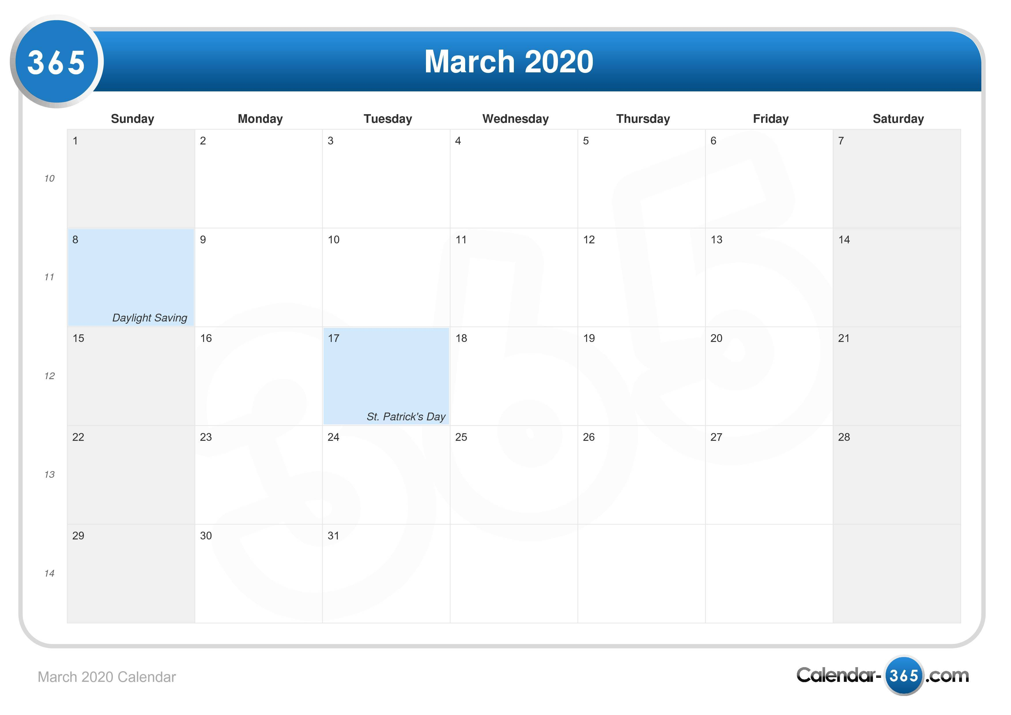 March 2020 Calendar within Uc Berkeley Academic Calendar 2020-2020