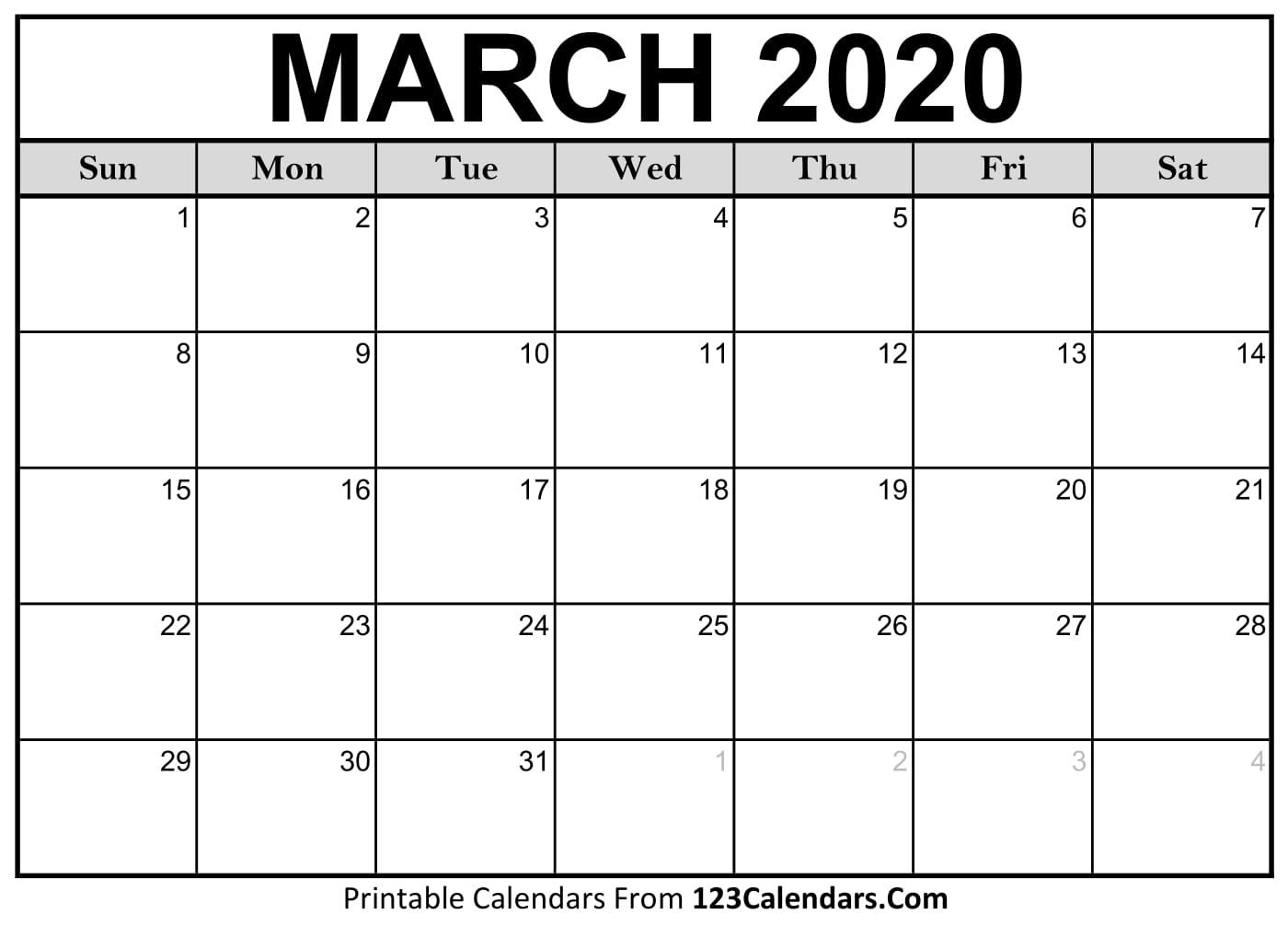 March 2020 Printable Calendar | 123Calendars with regard to Printable Calendars From 123Calendars