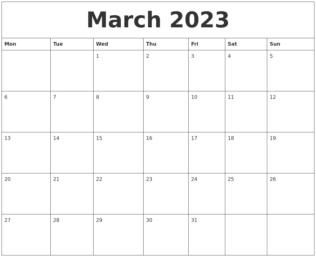 March 2023 Free Weekly Calendar in Free Online Weekly Calendar