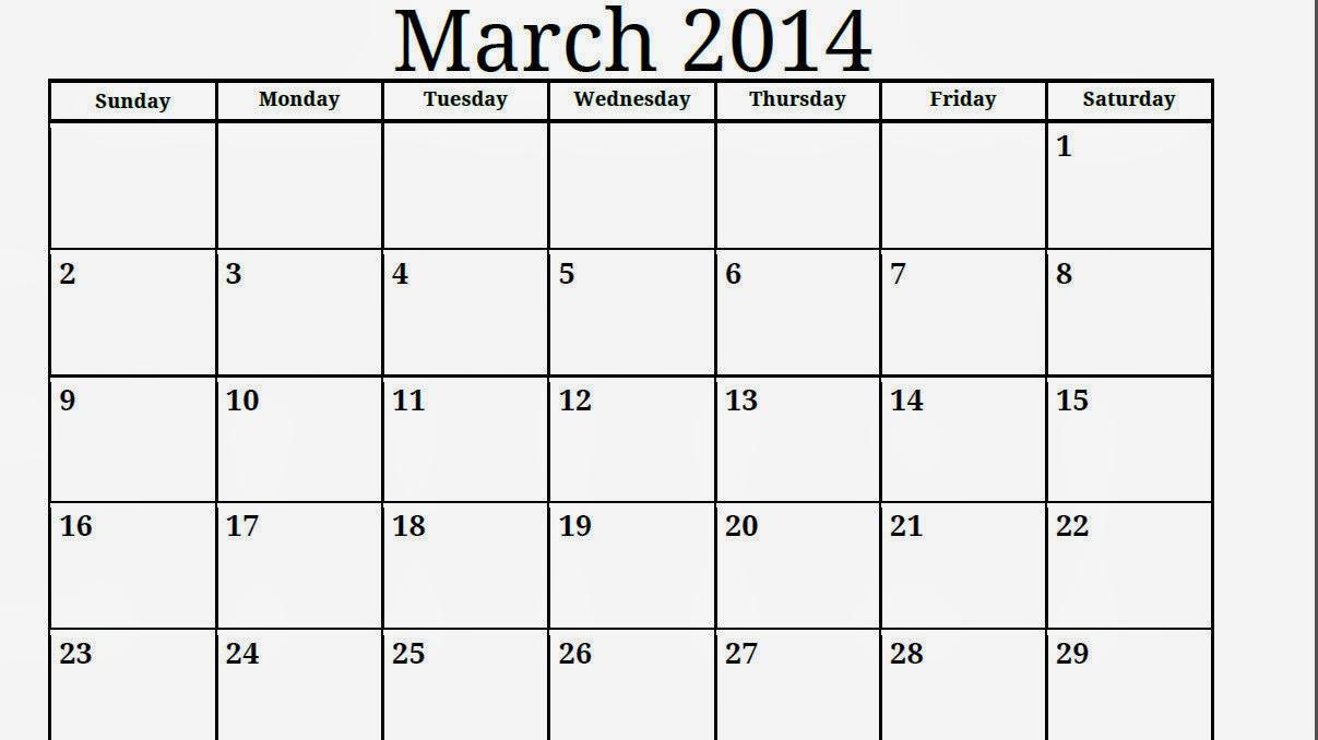 March Blank Calendar 2014 | Calendars 2018 Kalendar 2018 intended for Blank Calendar 2014