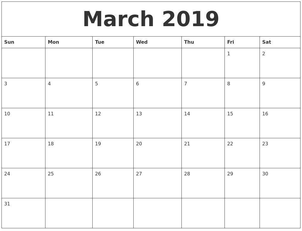 March Calendar 2019 Malayalam | Monthly Calendar Template for Blank Monthly Calender