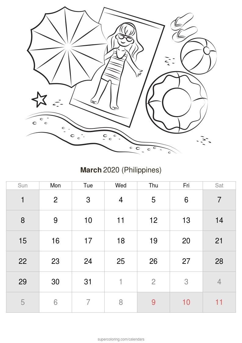 Martie 2020 Calendar (Filipine) regarding Calendar Martie 2020