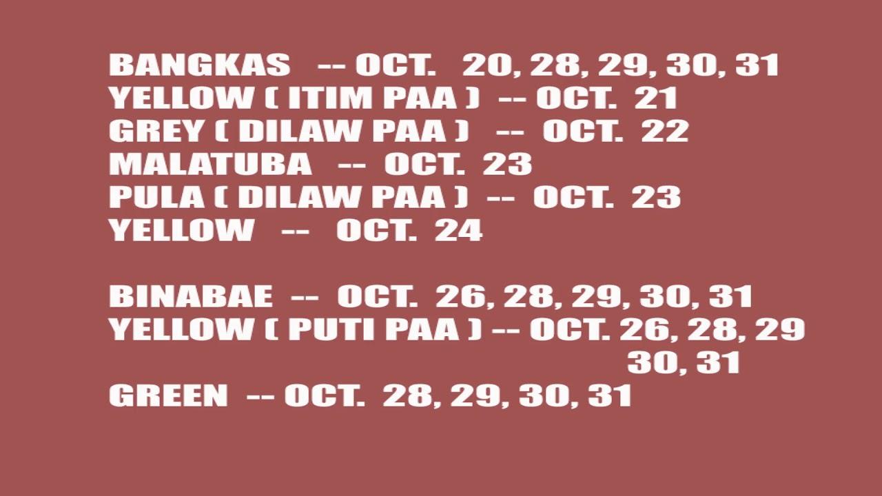 Masuwerteng Kulay Ng Manok October 2019 in Calendar Ng Manok Panabong