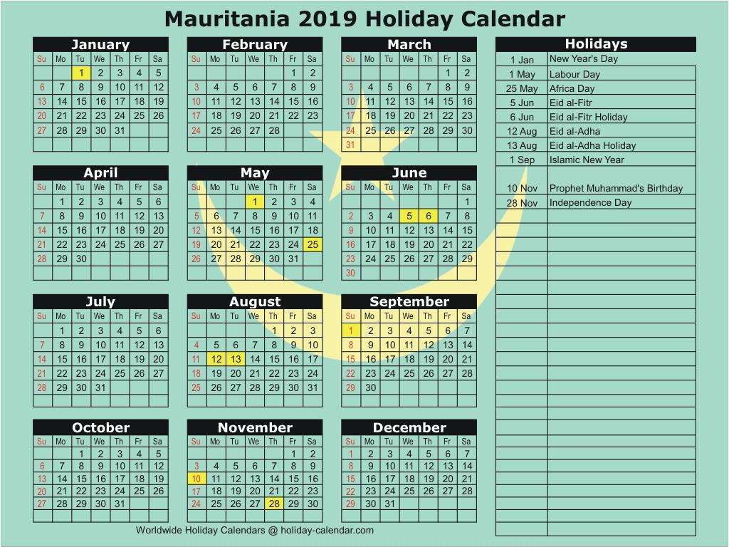 Mauritania 2019  2020 Holiday Calendar inside Mauritius School Calendar 2020