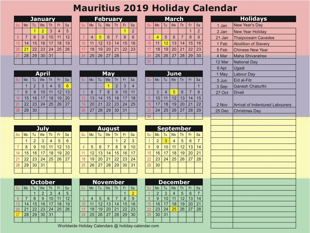 Mauritius 2019  2020 Holiday Calendar in School Calendar 2020 Mauritius