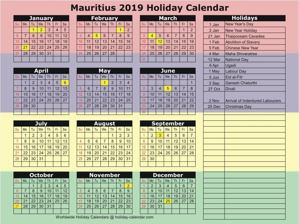 Mauritius 2019  2020 Holiday Calendar throughout Mauritius School Calendar 2020