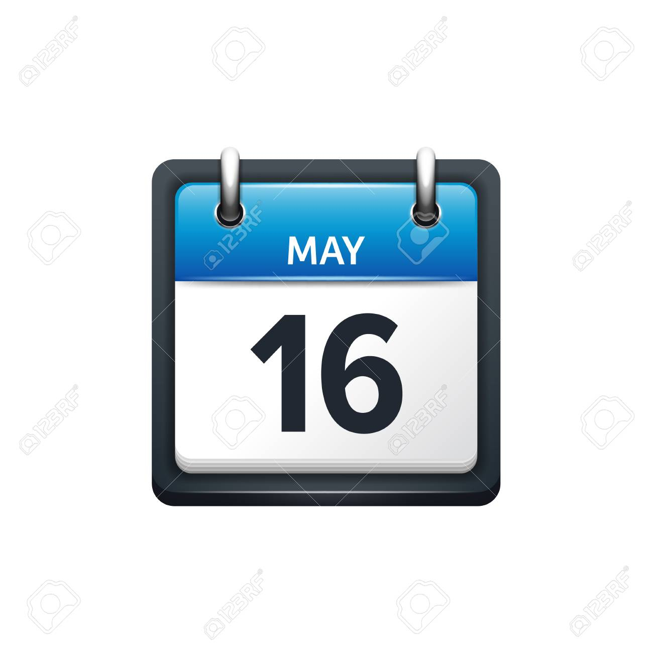 May 16. Calendar Icon.vector Illustration,flat Style.month And  Date.sunday,monday,tuesday,wednesday,thursday,friday,saturday.week,weekend,red  Letter for Saturday To Friday Calendar
