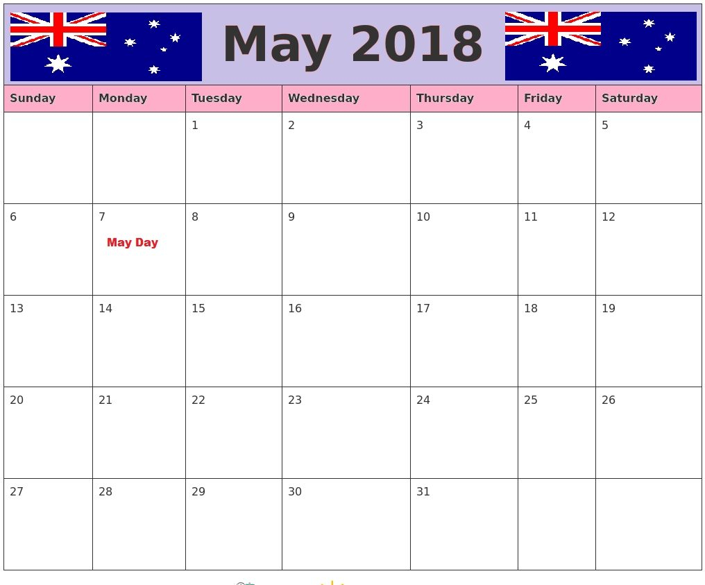 May 2018 Calendar Australia Printable – Business Calendar regarding 2018 Calendar Australia Printable