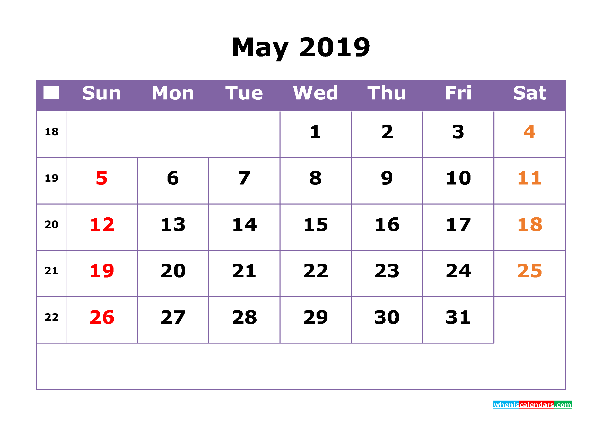 May 2019 Printable Calendar With Week Numbers For Free within Printable Calendar By Week