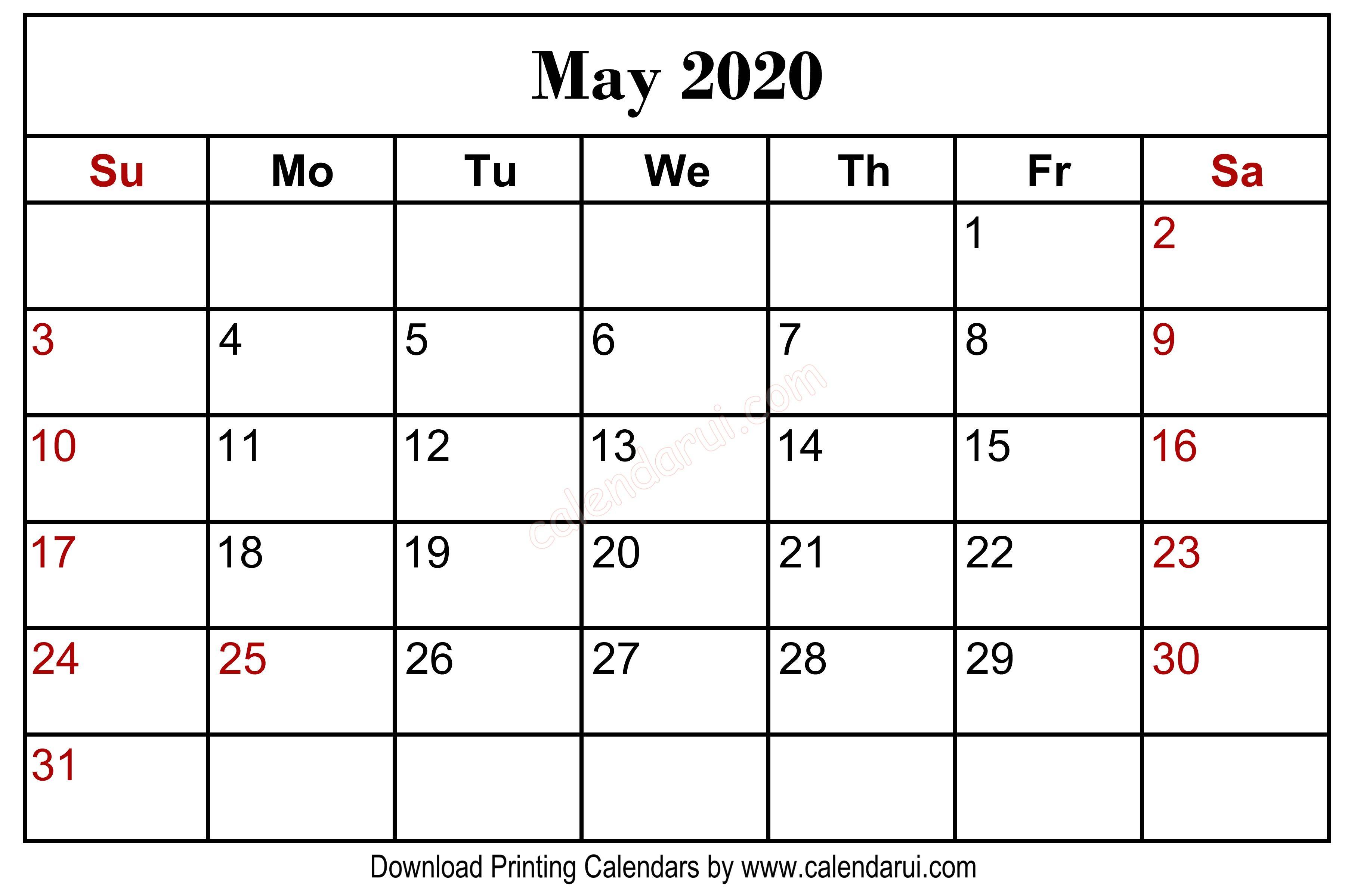 May 2020 Blank Calendar Printable Free Download Centre regarding Kalnirnay May 2020