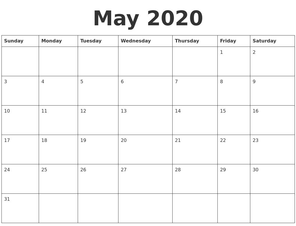 May 2020 Blank Calendar Template for 30 Day Calendar Blank