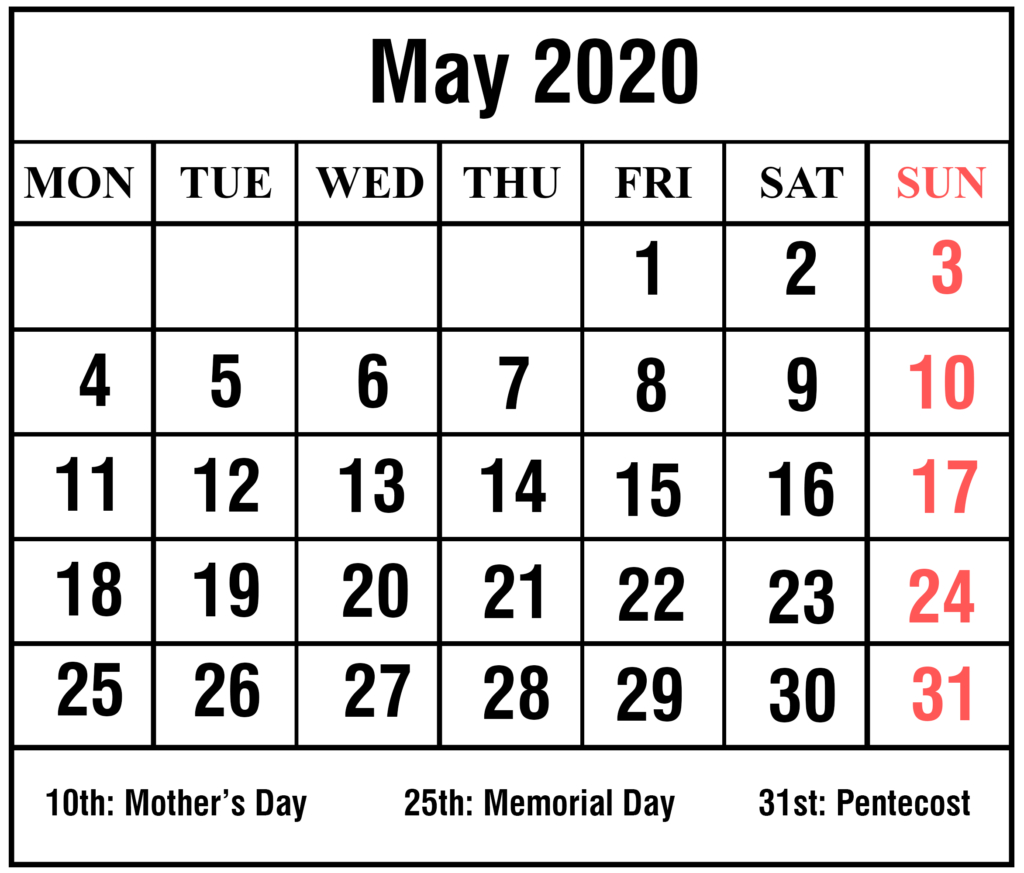 May 2020 Calendar Editable  Topa.mastersathletics.co with 2020 Excel Calendar Free