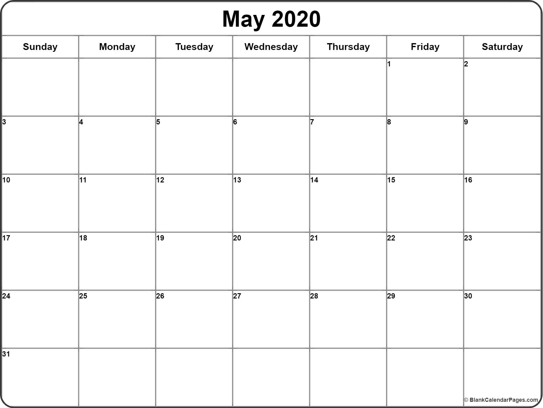 May 2020 Calendar | Free Printable Monthly Calendars pertaining to 2020 Blank Calendar Pages