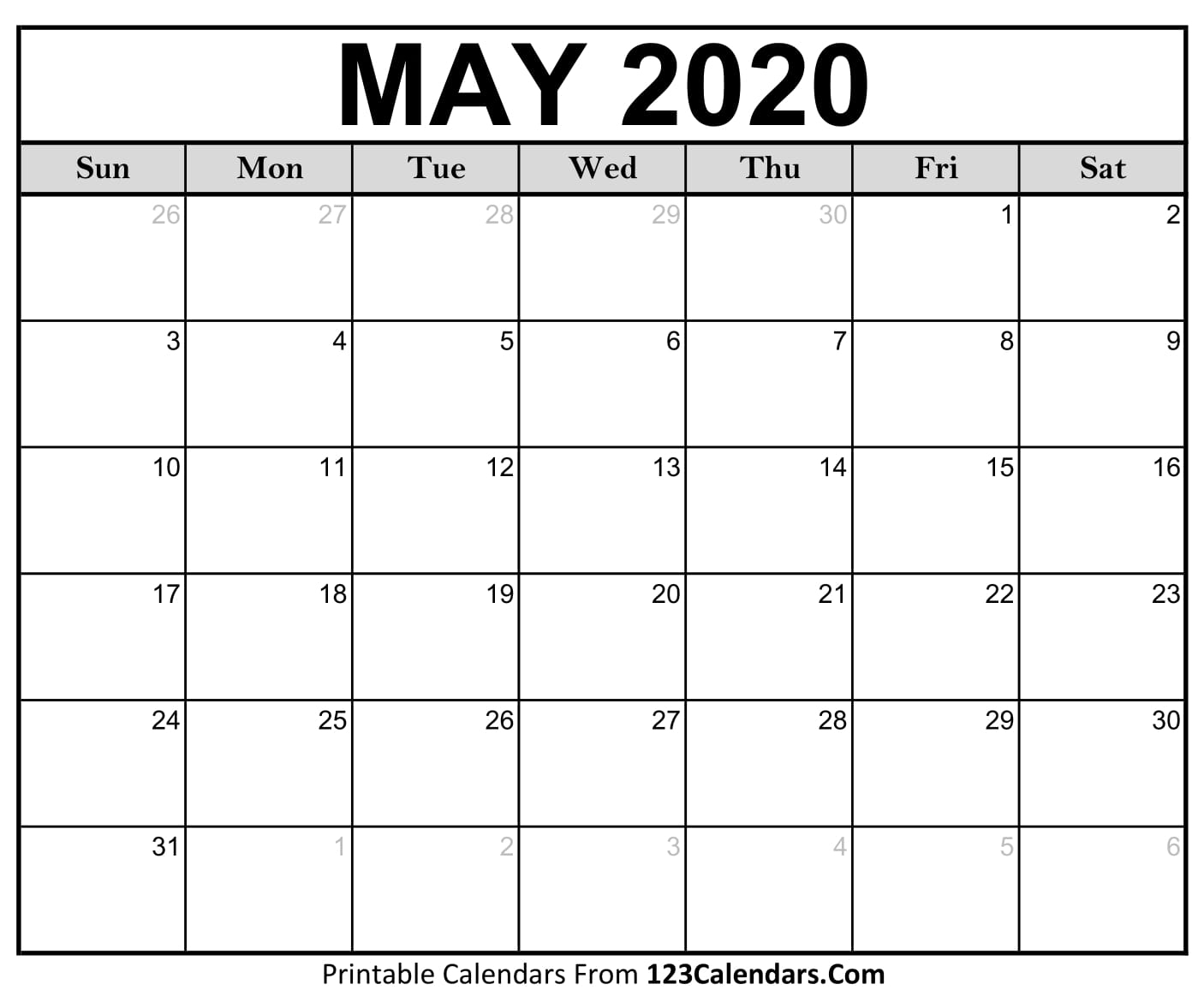 May 2020 Printable Calendar | 123Calendars with regard to Printable Calendars From 123Calendars
