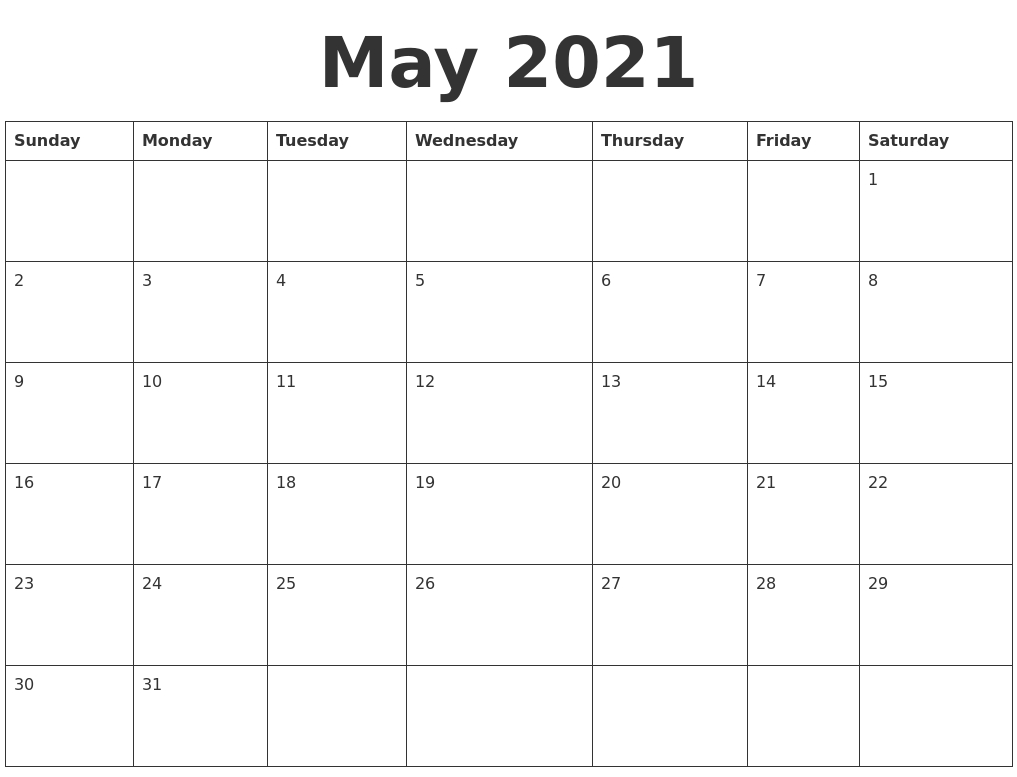 May 2021 Blank Calendar Template within Blank 31 Day Calendar