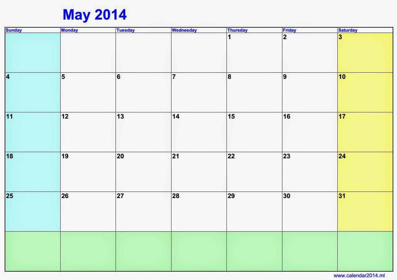 May Blank Calendar 2014 | Calendars 2018 Kalendar 2018 within Blank Calendar 2014