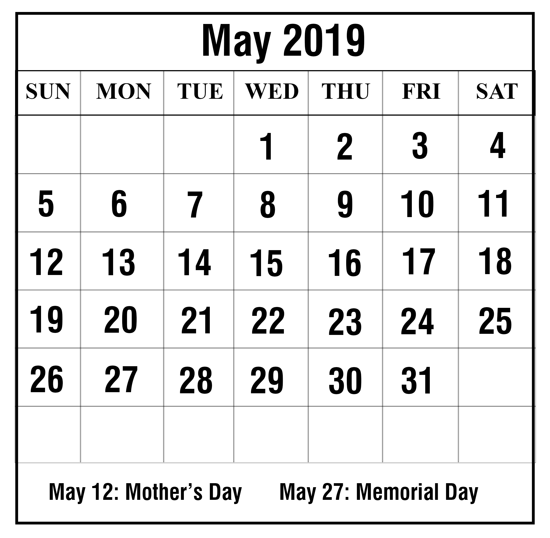 May Blank Calendar 2019 | Printable April Calendar Template throughout Blank 30 Day Calendar Template