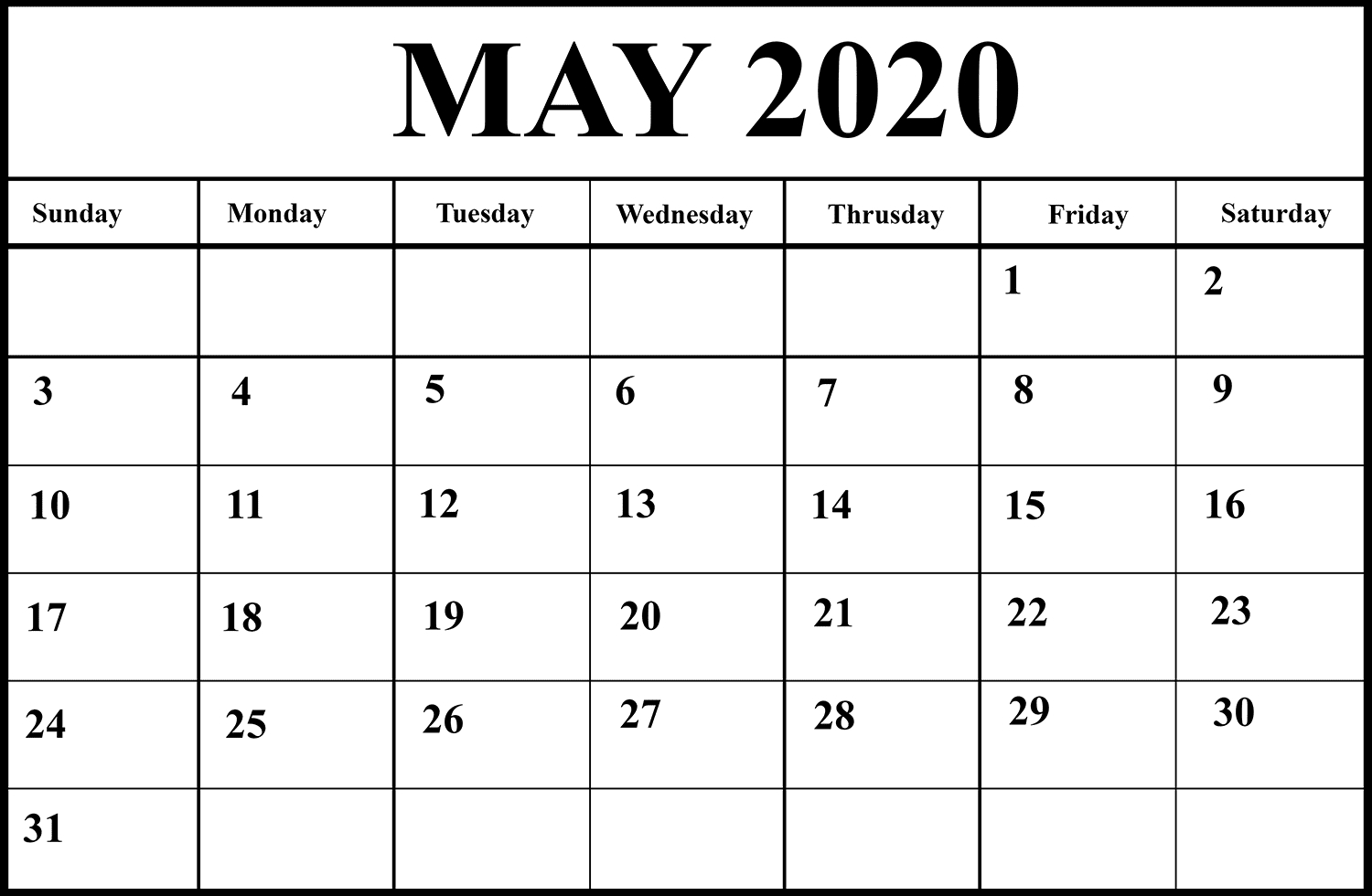 May Calendar 2020 Word | Monthly Calendar Template, Calendar for Word Calendar Template 2020