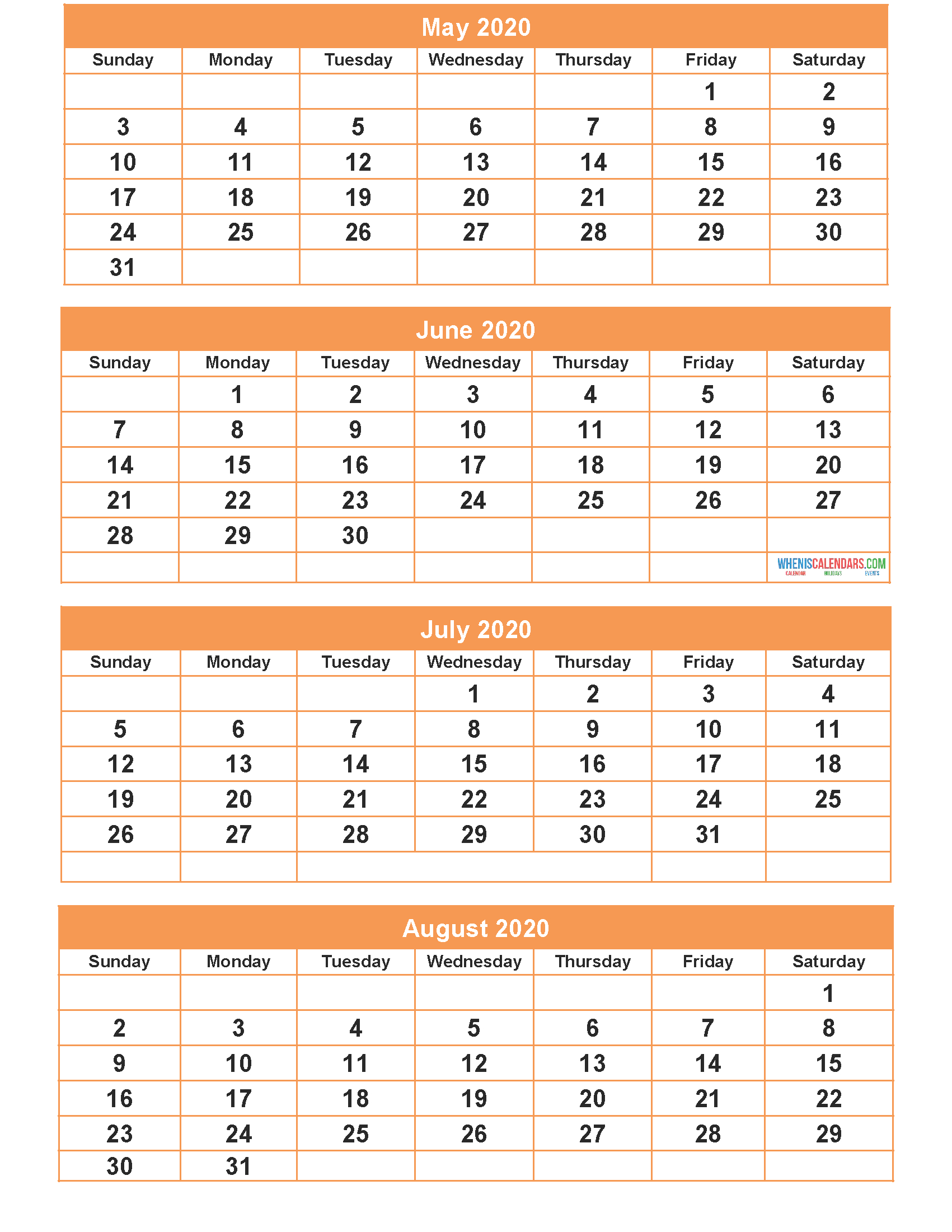 May June July August 2020 Calendar With Holidays Printable for July And August 2020 Calendar Printable
