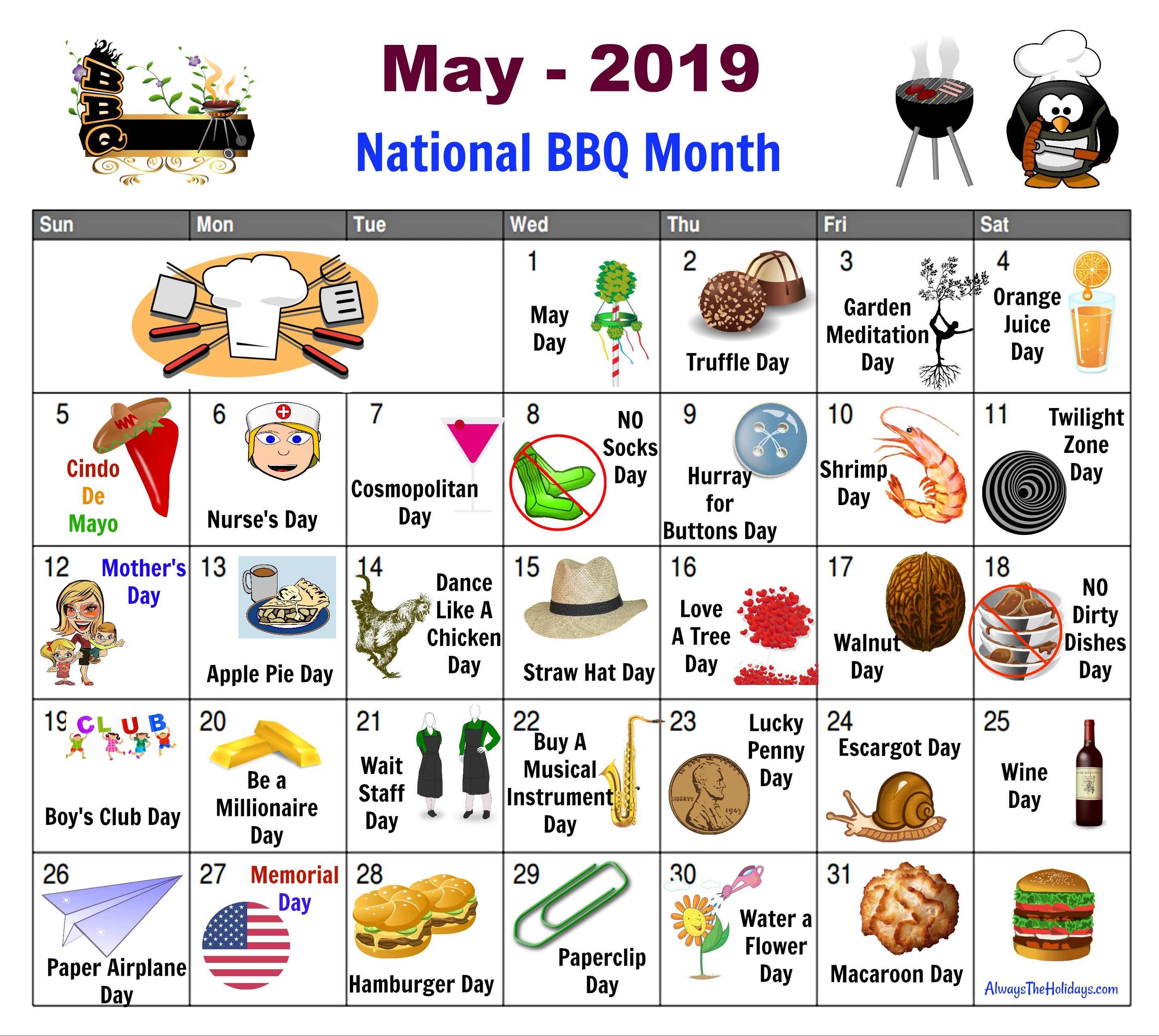 May National Day Calendar  Free Printable  Always The Holidays intended for National Day Calendar June 2020