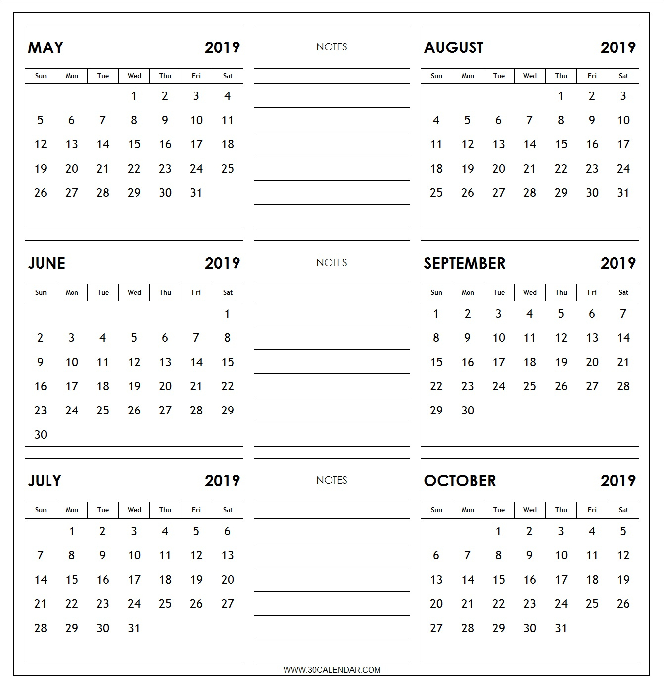 May To October 2019 Calendar Printable | 6 Month 2019 Calendar for Printable Six Month Calendar