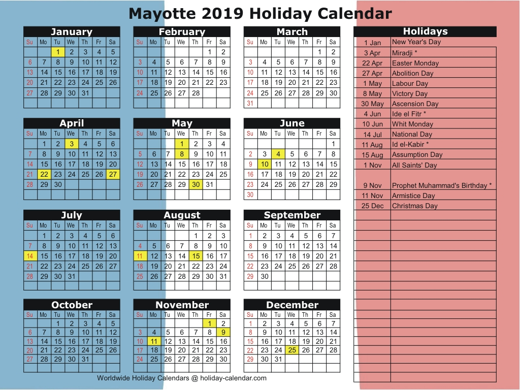 Mayotte 2019  2020 Holiday Calendar pertaining to School Calendar 2020 Mauritius