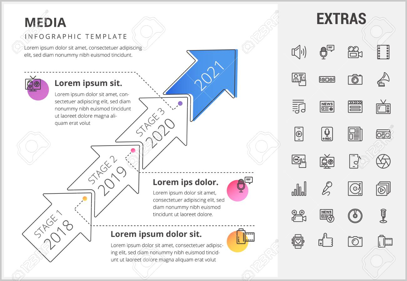 Media Timeline Infographic Template, Elements And Icons. Infograph.. within Broadcast Calendar 2021