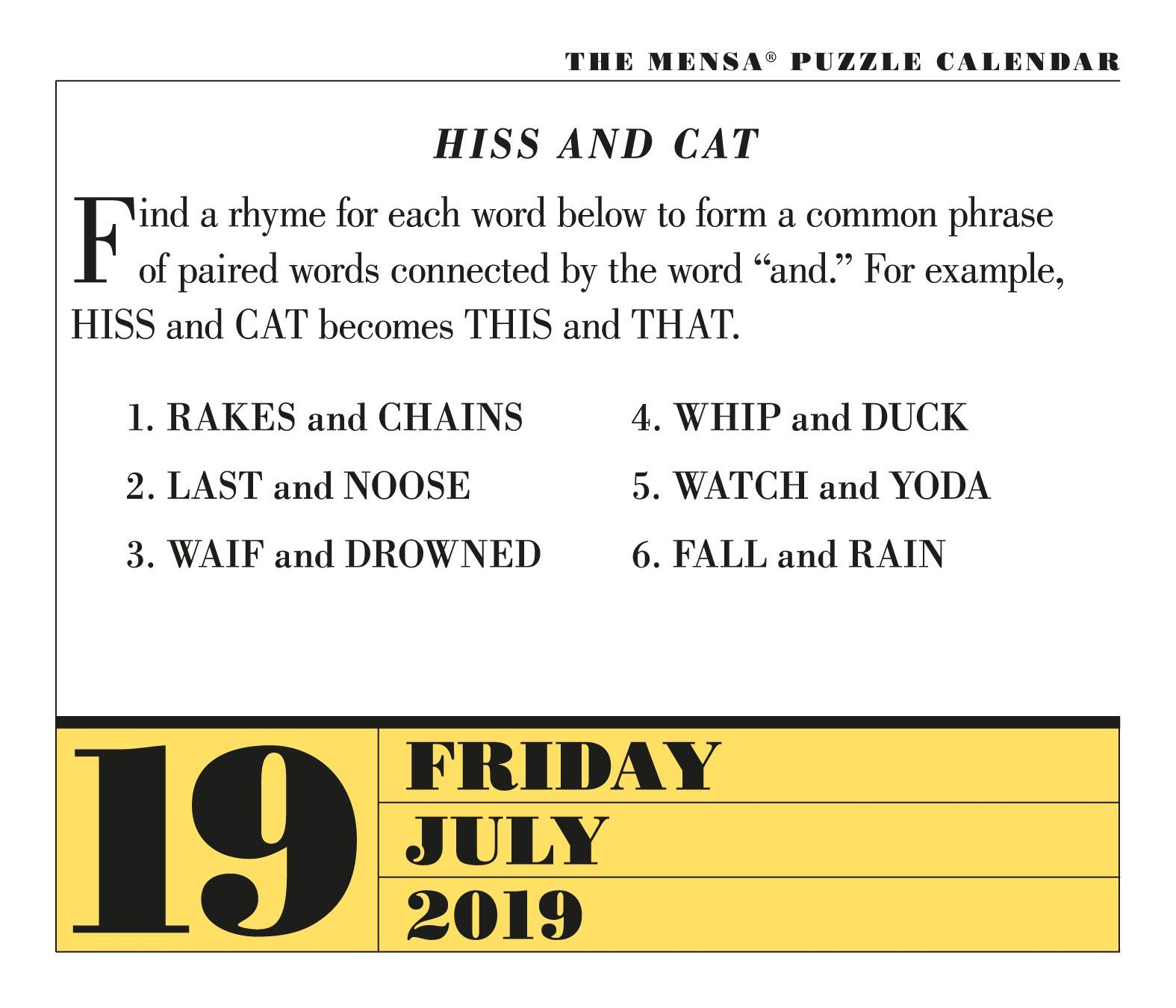 Mensa 365 Brain Puzzlers Pageaday Calendar 2019 Calendar for 365 Countdown Calendar