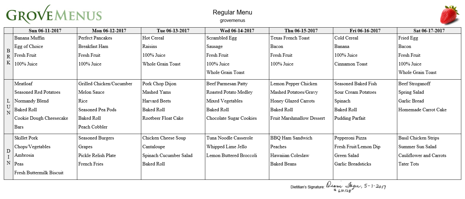 Menus For Assisted Living Facilities  Get A Free Sample inside Cycle Menu Template