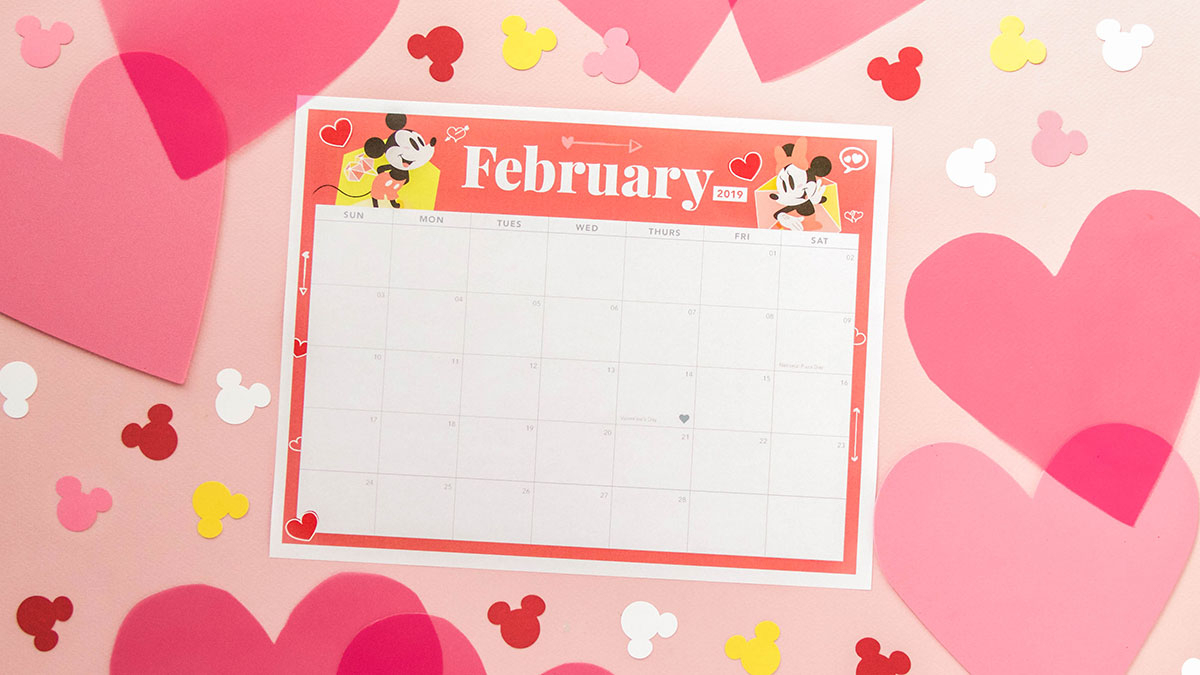 Mickey And Minnie February 2019 Printable Calendar | Disney with Disney Printable Calendar